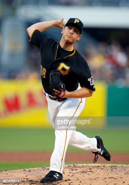 Chad Kuhl of the Pittsburgh Pirates pitches in the third inning against the Washington Nationals at PNC Park on May 16 2017 in Pittsburgh Pennsylvania