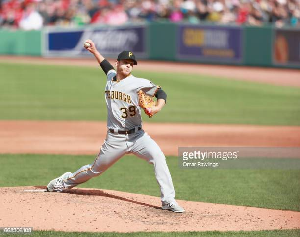 Chad Kuhl of the Pittsburgh Pirates pitches in the top of the fifth inning during the game against the Boston Red Sox on April 13 2017 at Fenway Park...