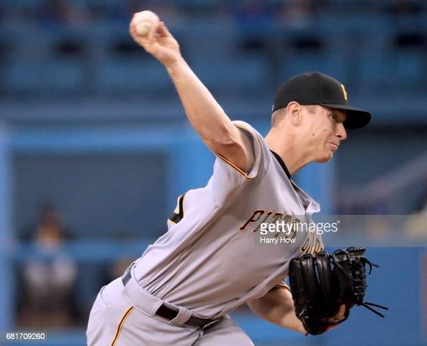 Chad Kuhl of the Pittsburgh Pirates pitches to the Los Angeles Dodgers during the first inning at Dodger Stadium on May 10 2017 in Los Angeles...