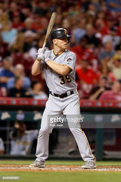 Chad Kuhl of the Pittsburgh Pirates takes an at bat during the game against the Cincinnati Reds at Great American Ball Park on September 15 2017 in...