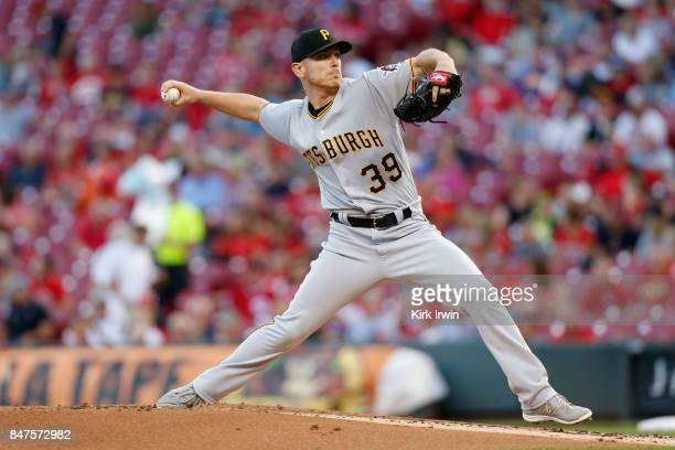 Chad Kuhl of the Pittsburgh Pirates throws a pitch during the first inning of the game against the Cincinnati Reds at Great American Ball Park on...