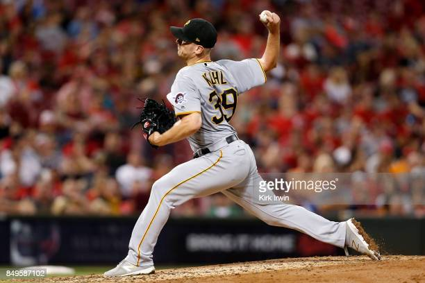 Chad Kuhl of the Pittsburgh Pirates throws a pitch during the game against the Cincinnati Reds at Great American Ball Park on September 15 2017 in...