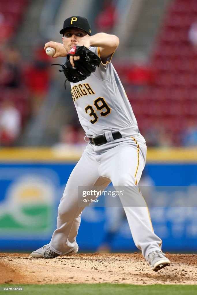 Chad Kuhl #39 of the Pittsburgh Pirates throws a pitch during the second inning of the game against the Cincinnati Reds at Great American Ball Park on September 15, 2017 in Cincinnati, Ohio.