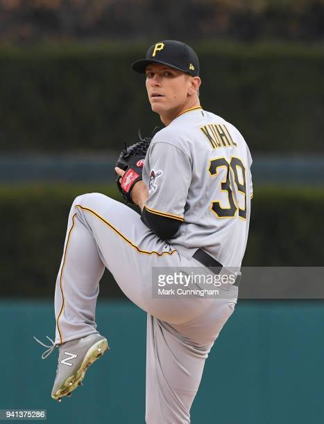 Chad Kuhl of the Pittsburgh Pirates throws a warmup pitch during game two of a double header against the Detroit Tigers at Comerica Park on April 1...