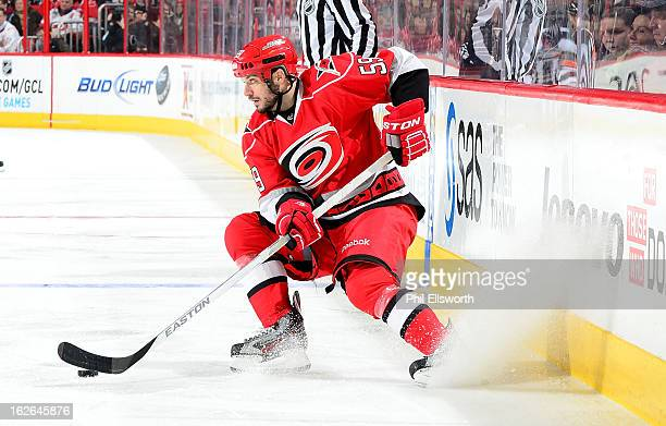 Chad LaRose of the Carolina Hurricanes looks to pass during an NHL game against the Winnipeg Jets on February 21 2013 at PNC Arena in Raleigh North...