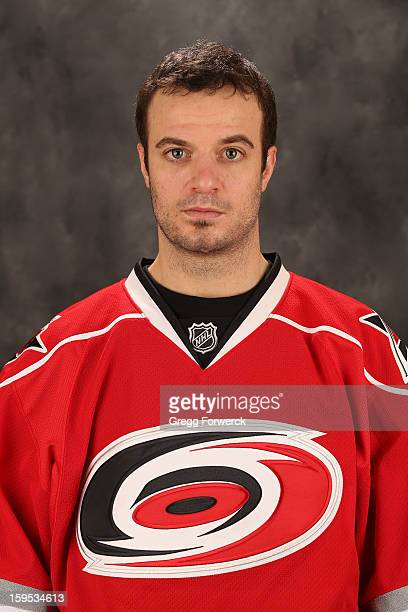 Chad LaRose of the Carolina Hurricanes poses for his official headshot for the 20122013 season on January 132013 in Raleigh North Carolina