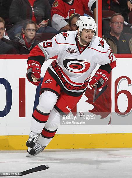 Chad LaRose of the Carolina Hurricanes skates against the Ottawa Senators at Scotiabank Place on October 14 2010 in Ottawa Ontario Canada