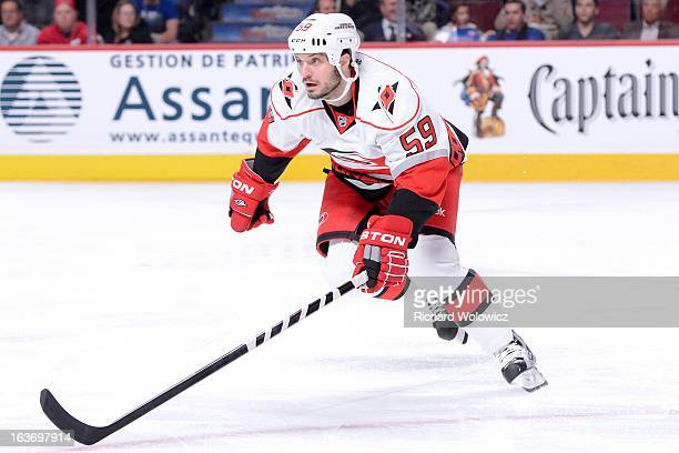 Chad LaRose of the Carolina Hurricanes skates during the NHL game against the Montreal Canadiens at the Bell Centre on February 18 2013 in Montreal...