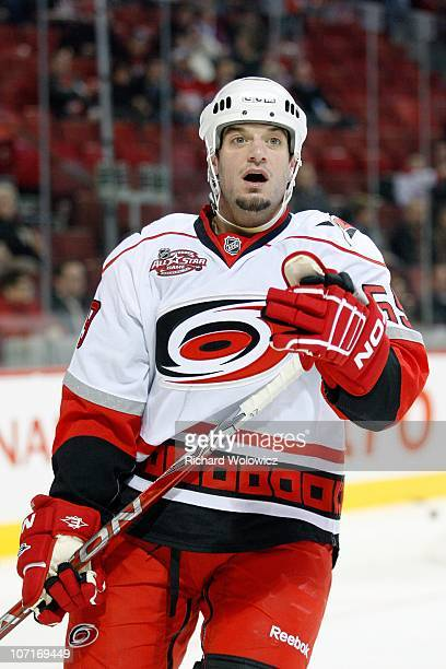 Chad LaRose of the Carolina Hurricanes skates during the warm up period prior to facing the Montreal Canadiens in their NHL game at the Bell Centre...