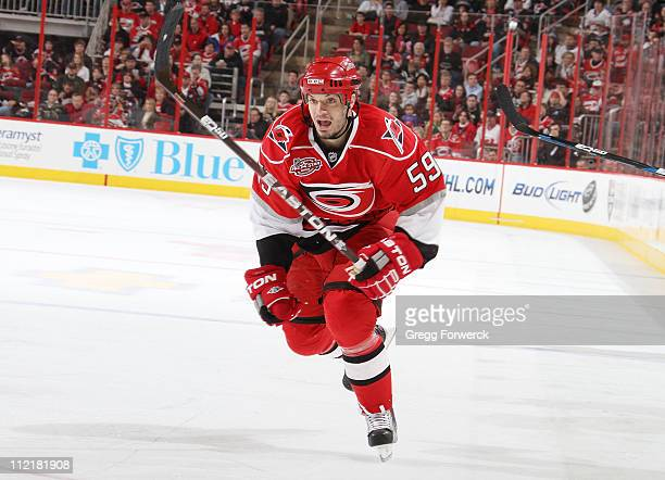 Chad LaRose of the Carolina Hurricanes skates for position on the ice during an NHL game against the Tampa Bay Lightning on April 9 2011 at RBC...