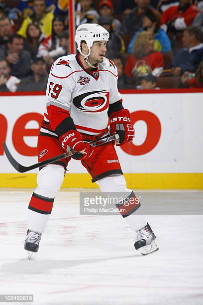 Chad LaRose of the Carolina Hurricanes skates in a game against the Ottawa Senators at Scotiabank Place on October 14 2010 in Ottawa Ontario Canada...