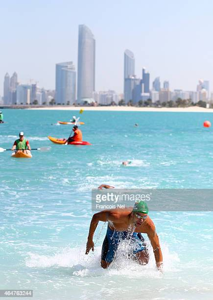 Chad le Clos FINA Male Swimmer of the Year 2014 exit the water during the Abu Dhabi Swimming Festival by Daman's ActiveLife at Emirates Palace Hotel...
