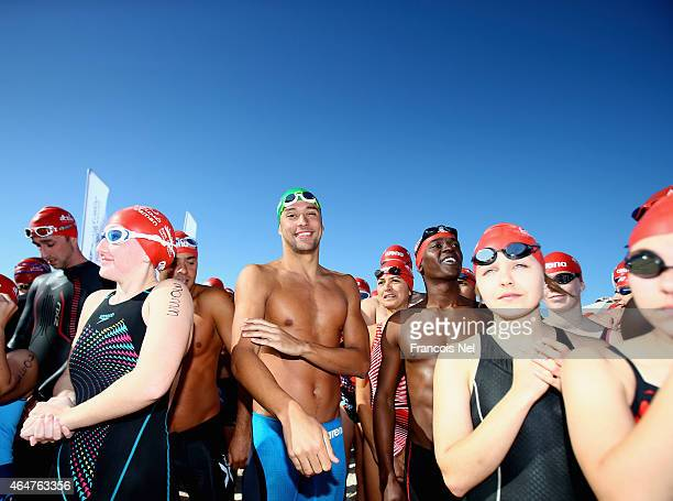 Chad le Clos FINA Male Swimmer of the Year 2014 pose for a photograph prior to the start of the Abu Dhabi Swimming Festival by Daman's ActiveLife at...