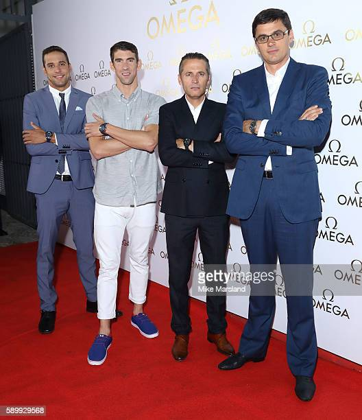 Chad le Clos Michael Phelps President Of Omega Raynald Aeschlimann and Aleksandr Popov pictured at Swimming Legends night at OMEGA House Rio 2016 on...