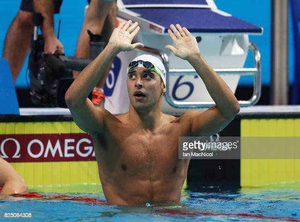 Chad Le Clos of South Africa celebrates after he wins the Men's 200m Butterfly final during day thirteen of the FINA World Championships at the Duna...