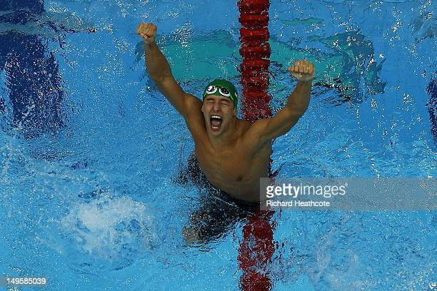 Chad le Clos of South Africa celebrates after winning the gold in the Men's 200m Butterfly final on Day 4 of the London 2012 Olympic Games at the...
