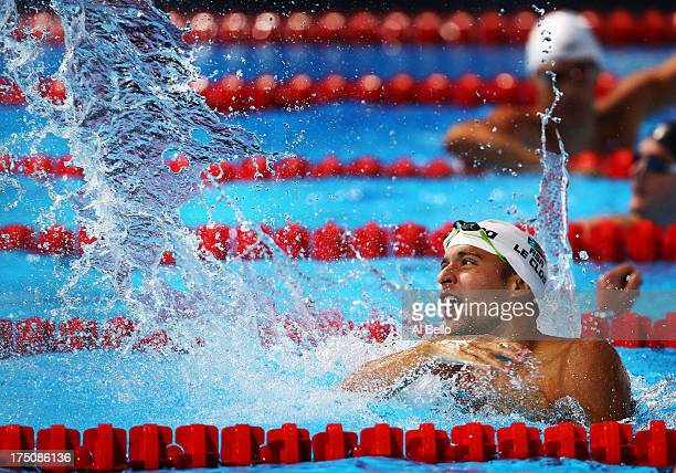 Chad Le Clos of South Africa celebrates after winning the Swimming Men's 200m Butterfly Final on day twelve of the 15th FINA World Championships at...