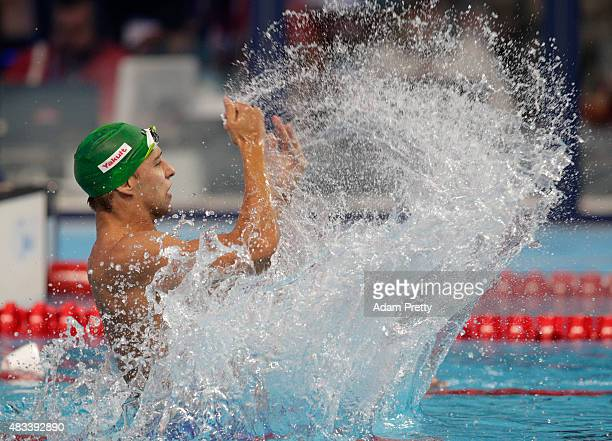 Chad Le Clos of South Africa celebrates winning the gold medal in the Men's 100m Butterfly Final on day fifteen of the 16th FINA World Championships...