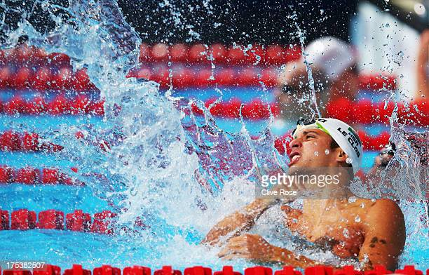 Chad Le Clos of South Africa celebrates winning the Swimming Men's Butterfly 100m Final on day fifteen of the 15th FINA World Championships at Palau...