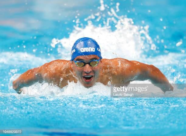 Chad le Clos of South Africa competes during the Men's 100m BButterfly on day one of the FINA Swimming World Cup at Duna Arena on October 4 2018 in...