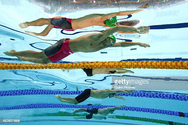 Chad le Clos of South Africa competes in the Men's 100m Butterfly Semi Final 2 at Tollcross International Swimming Centre during day four of the...