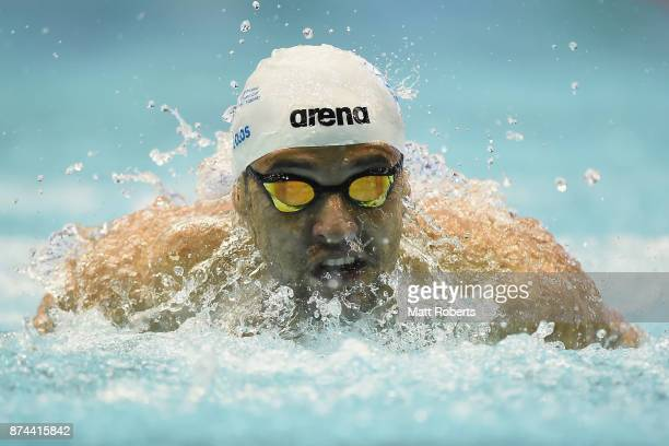 Chad Le Clos of South Africa competes in the Men's 200m Butterfly Final during day two of the FINA Swimming World Cup at Tokyo Tatsumi International...