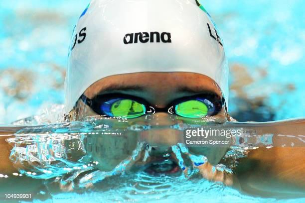 Chad Le Clos of South Africa competes in the Men's 400m Individual Medley Final at the Dr SP Mukherjee Aquatics Complex during day four of the Delhi...