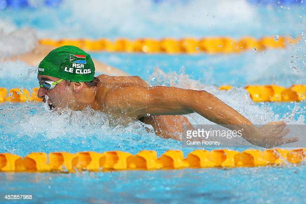 Chad le Clos of South Africa competes on the way to winning the gold medal in the Men's 100m Butterfly Final at Tollcross International Swimming...
