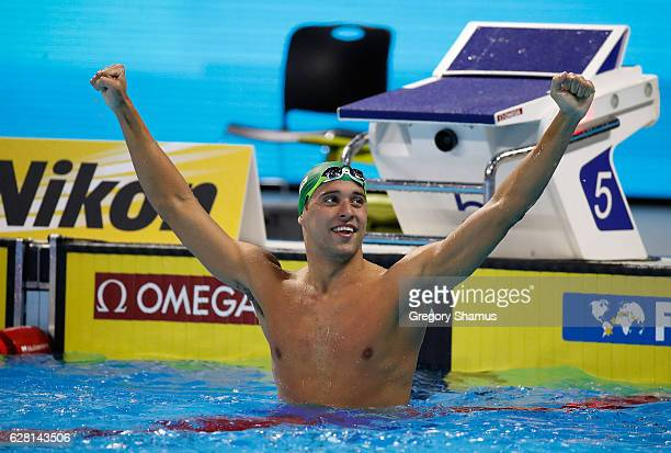 Chad Le Clos of South Africa reacts to his victory in the 200M Butterfly final on day one of the 13th FINA World Swimming Championships at the WFCU...