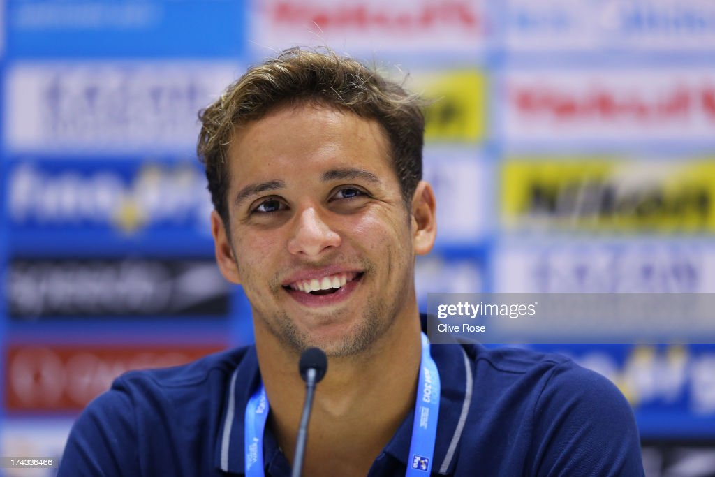 Chad le Clos of South Africa speaks to the media during the FINA World Championships at Palau Sant Jordi on July 24, 2013 in Barcelona, Spain.