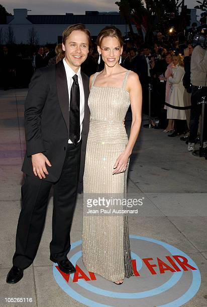 Chad Lowe and Hilary Swank during 2004 Vanity Fair Oscar Party Arrivals at Mortons in Beverly Hills California United States