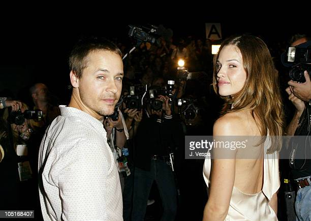 Chad Lowe and Hilary Swank during MercedesBenz Fashion Week Spring 2004 Marc Jacobs Arrivals at New York State Armory in New York City New York...