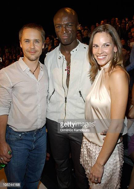 Chad Lowe Seal and Hilary Swank during MercedesBenz Fashion Week Spring 2004 Marc Jacobs Front Row at New York State Armory in New York City New York...