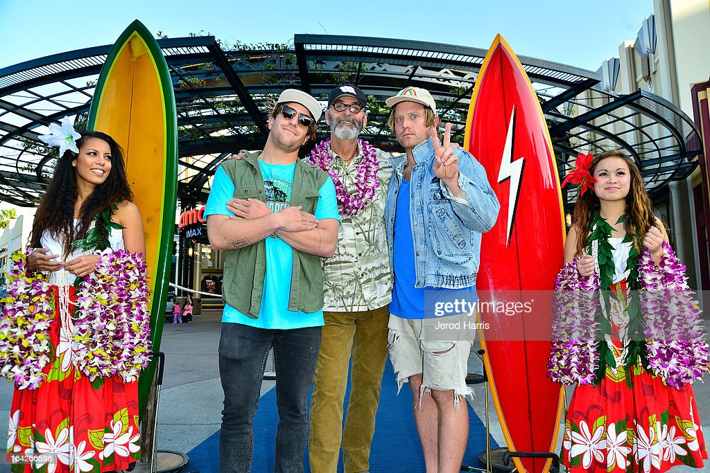 Chad Marshall, film maker Jack McCoy and Trace Marshall attend Disney's 'A Deeper Shade Of Blue' surfing documentary premiere at AMC Downtown Disney 12 Theater on March 21, 2013 in Anaheim, California.