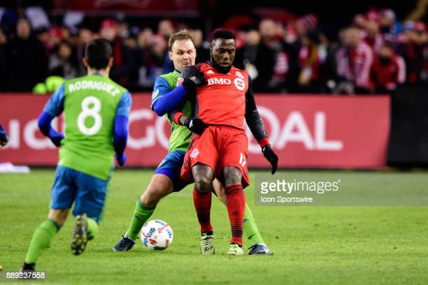 Chad Marshall of Seattle Sounders FC pulls Jozy Altidore of Toronto FC from behind during the 2017 MLS Cup Final between Toronto FC and Seattle...