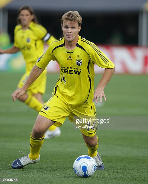 Chad Marshall of the Columbus Crew during a game between the New York Red Bulls and Columbus Crew at Columbus Crew Stadium June 30 2007 in Columbus...