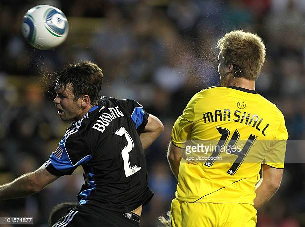 Chad Marshall of the Columbus Crew scores a goal past Bobby Burling of the San Jose Earthquakes during an MLS game at Buck Shaw Stadium on June 2...