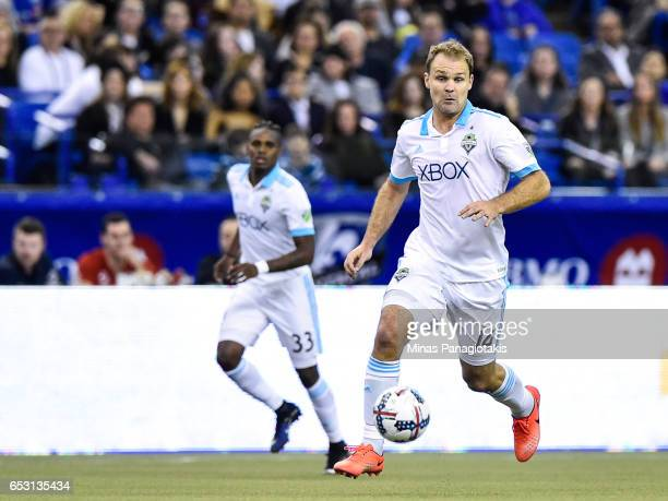 Chad Marshall of the Seattle Sounders controls the ball during the MLS game against the Montreal Impact at Olympic Stadium on March 11 2017 in...