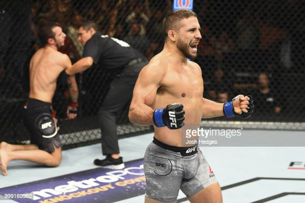 Chad Mendes celebrates after defeating Myles Jury by TKO in their featherweight fight during the UFC Fight Night event inside CenturyLink Arena on...