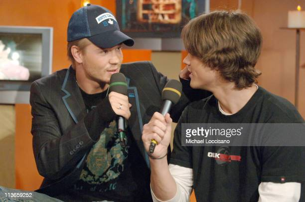 Chad Michael Murray and Jared Padalecki during Cast of 'House of Wax' Visits Fuse's 'Daily Download' May 4 2005 at Fuse Studios in New York City New...