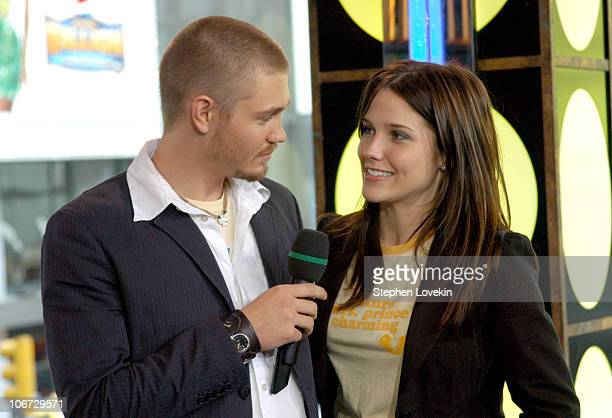 """Chad Michael Murray and Sophia Bush during Hilary Duff, Chad Michael Murray and Sophia Bush Visit MTV's """"TRL"""" - July 15, 2004 at MTV Studios in New..."""