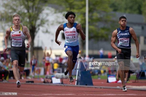 Chad Miller of Great Britain Nick Kocevar of Germany and Aymeric Priam of France compete during 100m Men Round 1 on July 18 2019 in Boras Sweden