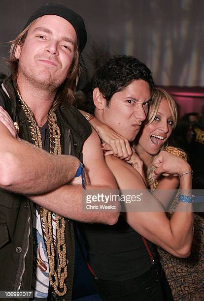 Chad Muska, Carlos Lopez and Nicole Richie during T-Mobile Sidekick 3 Launch Party - Inside at The Paladium in Hollywood, California, United States.