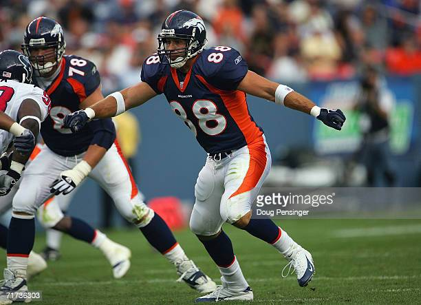 Chad Mustard of the Denver Broncos plays the tight end position against the Houston Texans during their preseason NFL game at Invesco Field at Mile...