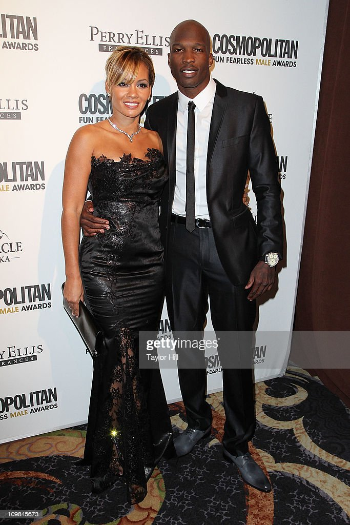 Chad Ochocinco (R) and Evelyn Lozada attend Cosmopolitan Magazine's Fun Fearless Males Of 2011 at The Mandarin Oriental Hotel on March 7, 2011 in New York City.