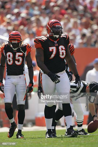 Chad Ochocinco and Levi Jones of the Cincinnati Bengals waiting for the start of the game against the Cleveland Browns on September 11 2005 at the...