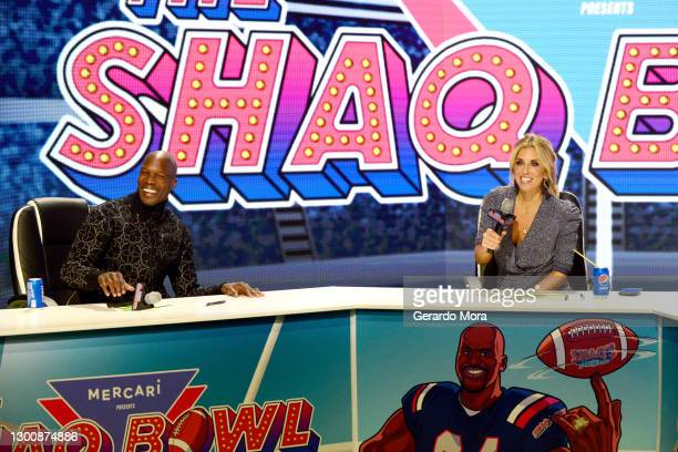 Chad Ochocinco and Sara Walsh speak during The SHAQ Bowl for Super Bowl LV on February 07, 2021 in Tampa, Florida.