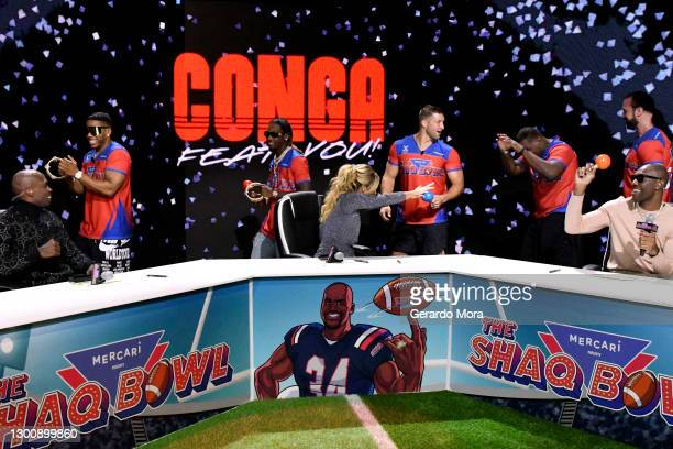 Chad Ochocinco, Nelly, Offset, Sara Walsh, Tim Tebow, Spice Adams, Drew McIntyre, and Terrell Owens speak during The SHAQ Bowl for Super Bowl LV on...