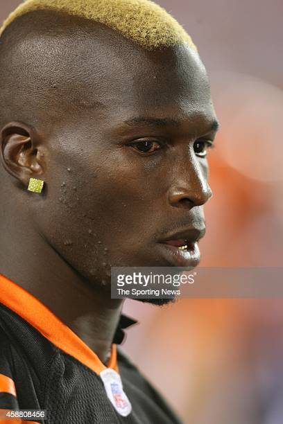 Chad Ochocinco of the Cincinnati Bengals looks on during a game against the Washington Redskins on August 13 2006 at the Paul Brown Stadium in...