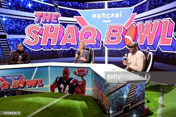 Chad Ochocinco, Sara Walsh, and Terrell Owens speak during The SHAQ Bowl for Super Bowl LV on February 07, 2021 in Tampa, Florida.